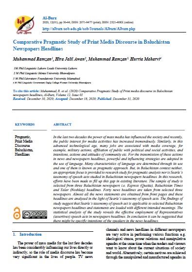 Comparative Pragmatic Study of Print Media Discourse in Baluchistan Newspapers Headlines